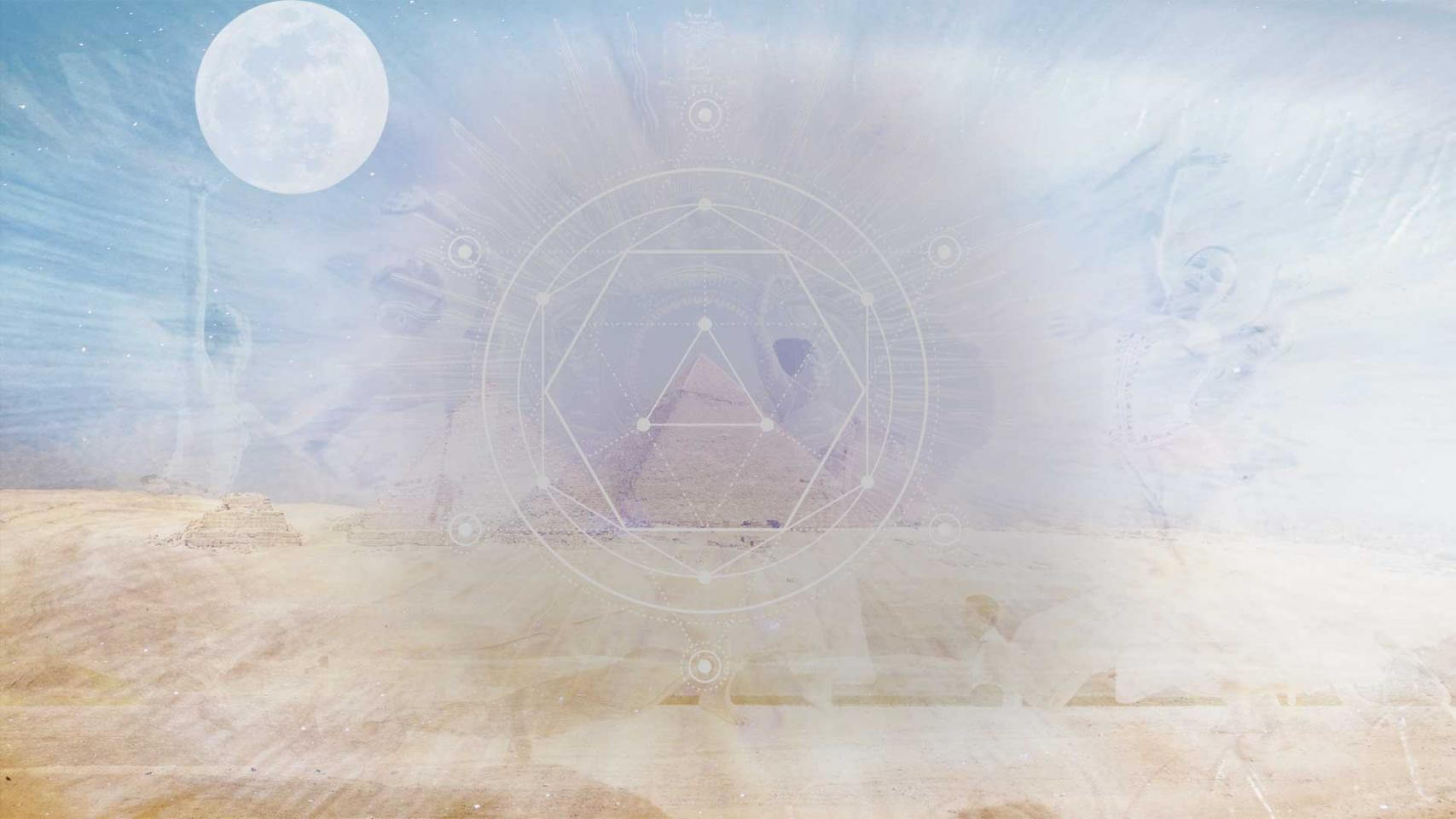 Three dancers surrounding a pyramid and a moon in the corner