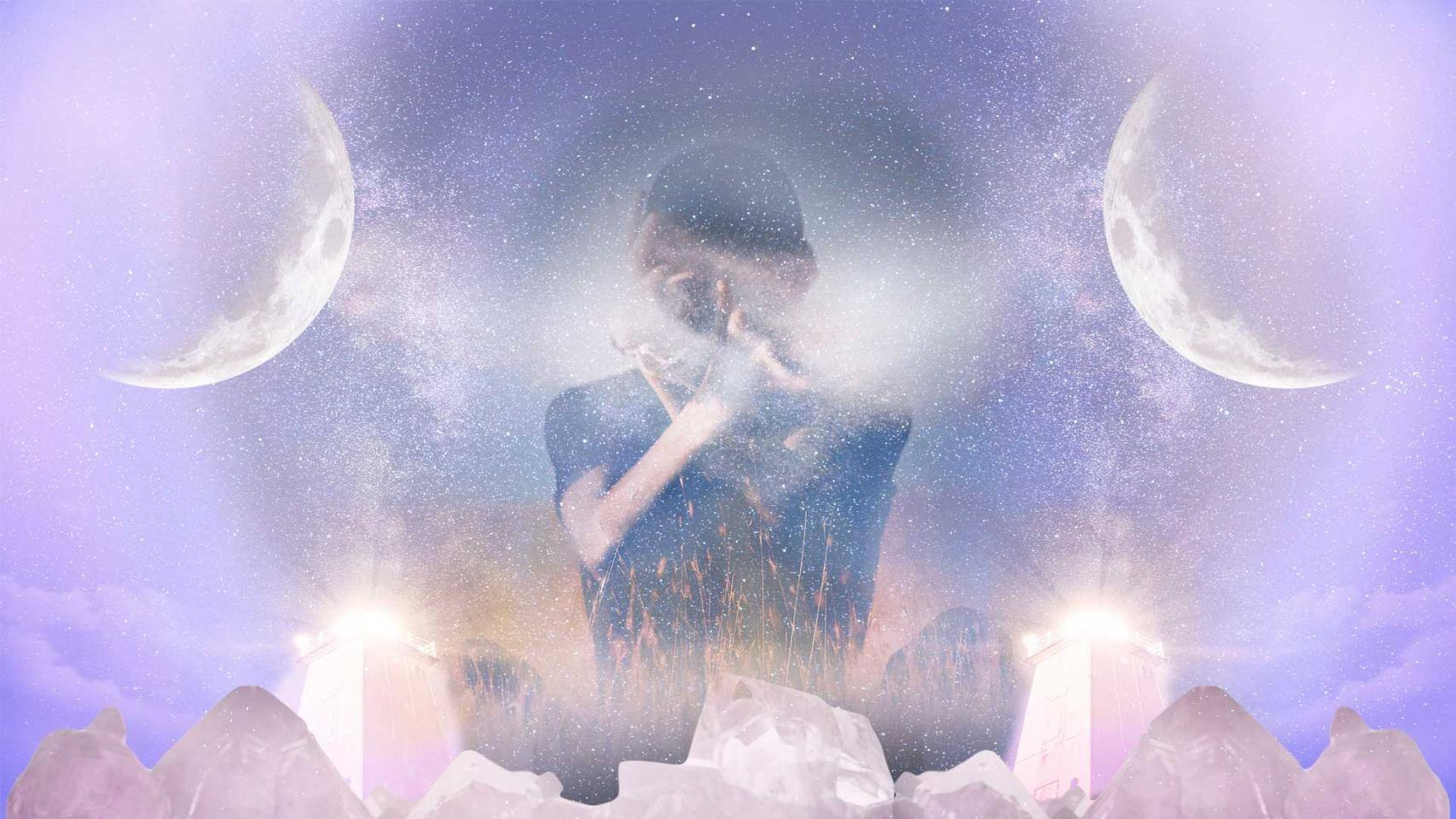 A boy with no face and his finger to his mouth, crystals, towers, two moons, stars and the beams of light in the background