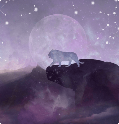 A lion walking on the hillside in the foreground with stars, a moon and the expanse of space in the background