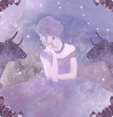 A woman in a long dress sitting in the foreground and bulls, stars clouds and the expanse of space in the background
