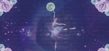 A ballerina in the foreground with flowers, writing, the moon and the expanse of space in the background
