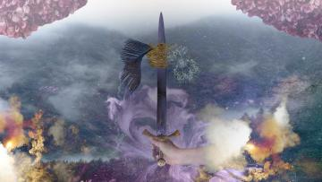 Ace Of swords banner. Sword in the middle of the picture with crystals either side