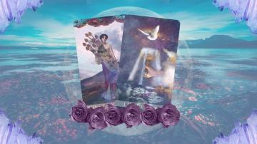 Two tarot cards floating in mid-air with roses underneath