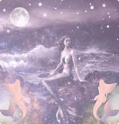 A mermaid sat on some rock in the foreground with clouds, the moon and the expanse of space in the background