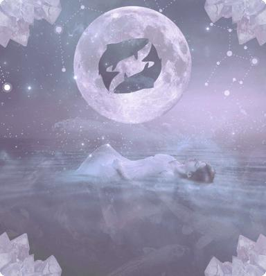 A woman swimming on her back with a moon, stars and the expanse of space in the background