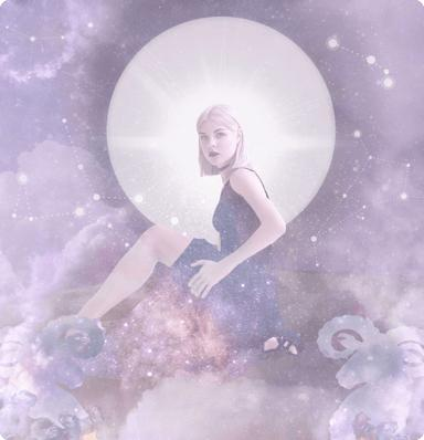 A woman in a long dress sitting with rams in the foreground, stars, clouds, the moon and the expanse of space in the background