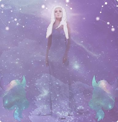 A woman with blonde hair wearing a long dress standing up in the foreground and bulls, stars clouds and the expanse of space in the background