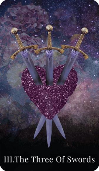 The Three of Swords tarot card