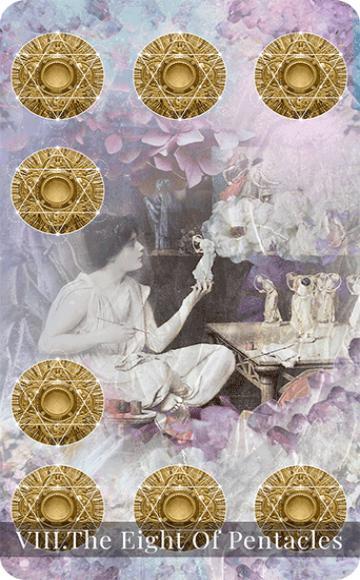 The Eight of Pentacles tarot card