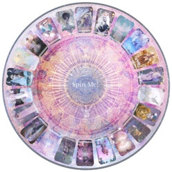 A tarot wheel with many cards